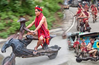 Igolot-Garonne-Tribe-Wears-Their-Costumes-and-Ride-a-One-of-a-Kind-Native-Wooden-Bike